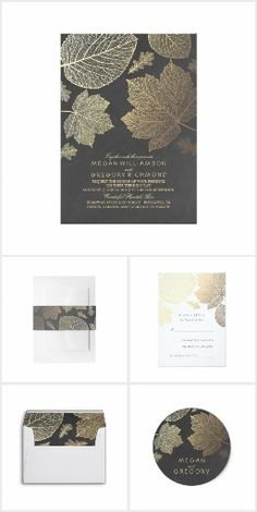 Fall Leaves Elegant Collection Be unique, be romantic with these fabulous products for woodland or for fall wedding, special party, or shower. Scroll down and see different colors: silver, gold, navy, burgundy etc. RSVPs are white but have a matching text color: navy invitation - white RSVP card with navy text color; burgundy invitation - white RSVP with burgundy text color...