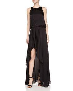 Halston Heritage Sequined Top Satin Dress, Women's, Size: 8, Black