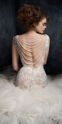 Kenneth Winston Style 1727 | trumpet mermaid style beaded embroidery wedding dress with lace straps back drop necklace | luxurious bridal gown | #glamwedding