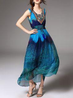 Blue A-line Abstract Sleeveless Maxi Dress