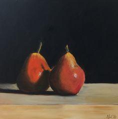 Pear Pair - acrylic on wood block
