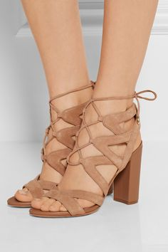 Heel measures approximately 100mm/ 4 inches Sand suede Lace-up front Designer color: Golden Caramel