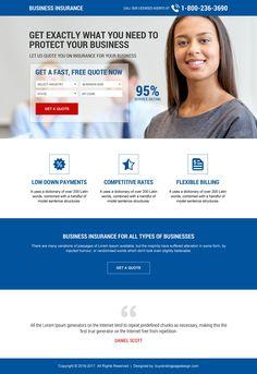 responsive business insurance mini landing page design