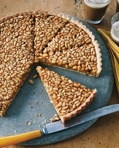 Honey and Pine Nut Tart from Gina DePalma's cookbook Dolce Italiano. I had this once, years ago at a dinner party and fell in love with it. So buttery with a subtle tartness. Ridiculously tasty. My husband got me the cookbook - it's great! Highly recommend!