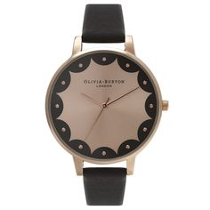 Olivia Burton Scalloped Edge Design Black and Rose Gold