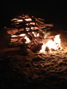 Enjoying the driftwood New Year's Eve fire on the beach