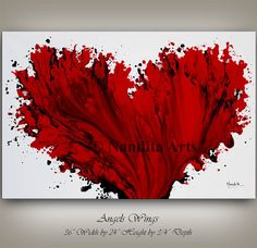 Original Red Art Painting on Canvas, Red Heart, Wedding Anniversary, Modern Art LARGE Abstract Painting Office Home Decor Fine Art, Nandita Acrylic Pouring Art, Acrylic Painting Canvas, Acrylic Art, Canvas Art, Friendship Paintings, Heart Painting, Red Art, Large Art, Modern Art