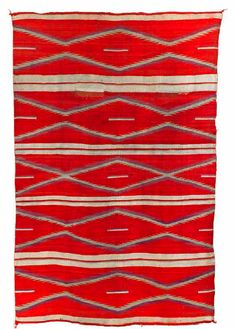 blanket by Navajo people, Native American; churro wool, aniline, and vegetal dye. at the Birmingham Museum of Art