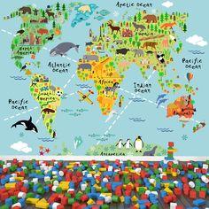 Animal World Map Educational Travel Wall Mural Kids Caroons Photo Wallpaper | eBay