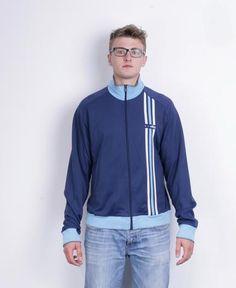 Adidas Mens L/XL Sweatshirt Navy Blue 3 Stripes Cotton Jacket Tracksuit Track Top Jacket