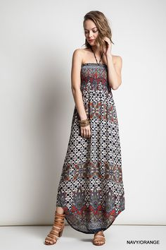 cf24756fc677 Out Of My Kloset Boutique - Printed Halter Maxi Dress