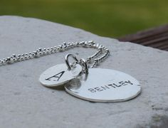 Boyfriend Necklace: Handstamped personalized with your boyfriend/husbands name and your initial