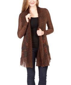 Another great find on #zulily! Brown Shawl Collar Open Cardigan by Nicole Sabbattini #zulilyfinds