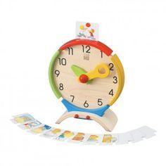 Met deze prachtige houten klok leert je kindje op een leuke manier klok lezen…