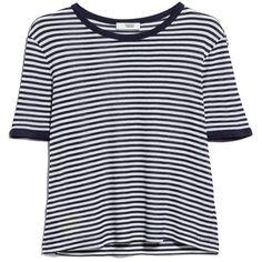 MANGO Striped Rib T-Shirt ($20) found on Polyvore featuring tops, t-shirts, shirts, rib t shirt, striped shirt, short sleeve tees, ribbed shirt and short sleeve shirts