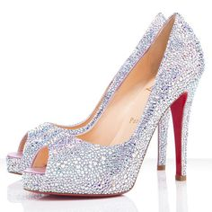 Christian Louboutin Very Riche 120mm Peep Toe Pumps  Color: Aurora Boreale.Material: Strass.Heel Height: 5 inches approx. - 120 mm approx.Arch: 4 inches approx. - 100 mm approx.Platform Height: 1 inches approx. - 20 mm approx.  It´s our honour that you visit our website. In men´s eyes, women wearing high heels greatly increase the mature women´s charm! The pursuit of beauty is human instinct, but the pursuit of fashionable and follow their envy is a lot of people´s nature. They like to wear…