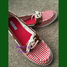 Striped Boat Shoe Forever 21 Red Striped Boat Shoe. Marked sized 10 fits more like size 9-9 1/2. Labels still on bottom of shoes. A great casual shoe. Forever 21 Shoes