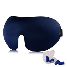 Sleep Mask with 2 Pair of Earplugs,3D Contoured Shape By OXA,Adjustable Velcro Strap For Men and Women- Best For Travel, Insomnia or Quiet Night Sleep