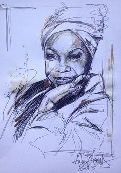 Nina Simone illustration portrait Antoine stevens