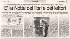 A #Campobasso questa notte non si dorme ma si legge in @BMTCampobasso con #lettidinotte, Quotidiano del Molise del 20 giugno 2015.