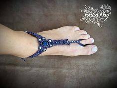 Bracelet de pied macramé, bracelet de pied améthyste, bracelet de pied violet, bijoux de peau, bijoux d'été, Belisamag, macramé pied. de la boutique BelisaMag sur Etsy