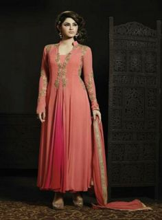 Picturesque #Peach and #Magenta #Anarkali Features georgette kameez alongside a santoon bottom and chiffon dupatta.Embroidery work is completed with zari,thread work embroidery.