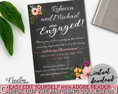 Chalkboard Flowers Bridal Shower Engaged Invitation Editable in Black And Pink, engaged party, chalk shower, party stuff, party plan - RBZRX #bridalshower #bride-to-be #bridetobe