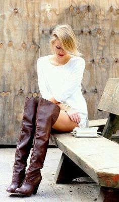Blonde in white sweater shorts and tall brown thigh boots outfit #hothighheelssexyoutfits #highheelbootsknee
