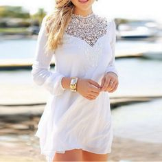 White Sexy Lace Elastic Cuff Chiffon Dress | Daisy Dress for Less | Women's Dresses & Accessories