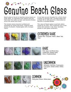 We love searching for sea glass! Beach Glass Rarity Chart by Gayle Bird… Sea Glass Beach, Sea Glass Art, Sea Glass Jewelry, Water Glass, Stained Glass, Pebble Beach, Fused Glass, Sea Glass Colors, Glass Necklace