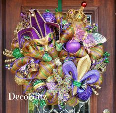 MARDI GRAS Wreath with a Large JESTER Mask by decoglitz on Etsy