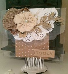 This beautiful vintage style card was the Send It Clear Half Scallop Card: http://www.clearscraps.com/category_s/69.htm