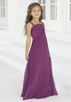 Chiffon Spaghetti Straps Column Simple Long Junior Bridesmaid Dress - Bridesmaid - WHITEAZALEA.com
