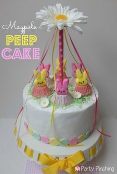 Peep cake, maypole cake, maypole, cute peeps, bunny peeps, easter cake, may day ideas, easter dessert ideas, necco wafers, peeps