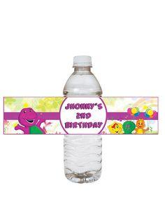 Barney  birthday water bottle lable by jonyba on Etsy, $3.90