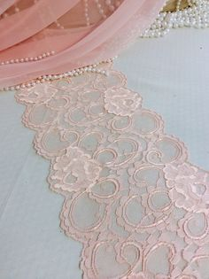 6ft Pink Lace Table Runner ,Wedding Table Runner, 7in WIde x 78in Long, Pink Wedding Decor on Etsy, $9.95