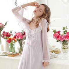81a077930e Vintage Royal Nightgown Sleepwear Women Spring Summer Sexy Lace Nightgown  Princess Long Sleepwear Old European Style Night Wear