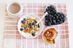 Breakfast. Ceral with tons of fresh blueberries is the best! YUM