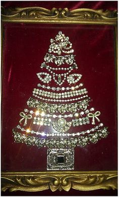 Antique Rhinestone Brooches, Earrings & Necklaces as Christmas Tree, nice bit of bling for Christmas !VTG Antique Rhinestone Brooches, Earrings & Necklaces as Christmas Tree, nice bit of bling for Christmas ! Jeweled Christmas Trees, Christmas Tree Lots, Noel Christmas, Christmas Jewelry, Vintage Christmas, Christmas Ornaments, Xmas Trees, Costume Jewelry Crafts, Vintage Jewelry Crafts