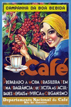 National Coffee Dept., Rio de Janeiro Brazil (Brasil), travel poster | Etsy