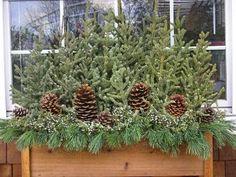 Easy Winter/Christmas window box decorating ideas