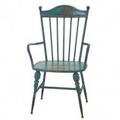 The house of windsor reigns: Metal arm chair in teal is a modern interpretation of the classic style. Blue Velvet Dining Chairs, Outdoor Dining Chair Cushions, Old Chairs, Solid Wood Dining Chairs, Eames Chairs, Dining Arm Chair, Upholstered Dining Chairs, Desk Chair, Swivel Chair