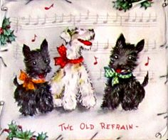 Vintage Christmas Card Scottie pair and friend sing the old Christmas refrain. Vintage Christmas Images, Old Christmas, Old Fashioned Christmas, Christmas Scenes, Christmas Animals, Retro Christmas, Christmas Pictures, Christmas Greetings, Vintage Images