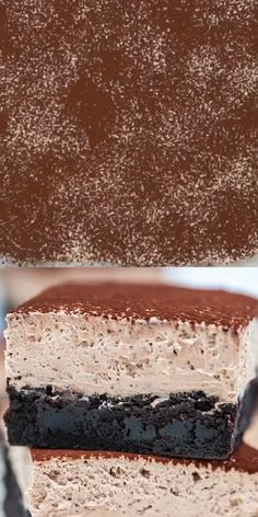 Chocolate Mousse Brownies are creamy, indulgent and loaded with chocolate, making them the perfect dessert. Köstliche Desserts, Chocolate Desserts, Delicious Desserts, Yummy Food, Chocolate Making, Cake Chocolate, Sweet Desserts, Chocolate Buttercream, Buttercream Frosting