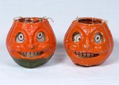 Vintage Halloween Jack O Lantern Pumpkin Paper Mache Made in Germany