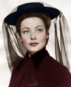 """A rare colorized photo of Gene Tierney for """"The Ghost and Mrs. Muir"""" 1947."""