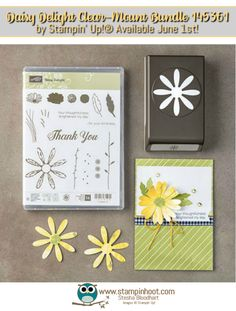 Stampin' Up! Daisy Delight Bundle Sneak Peek, Thank You Card, Remarkable InkBig Blog Hop, Stesha Bloodhart, Stampin' Hoot! New In-Color Tranquil Tide #stampinup #tranquiltide #daisy