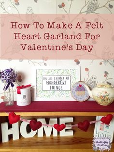 How to make a felt heart garland perfect for Valentines Day or in different colours to decorate a baby's nursery