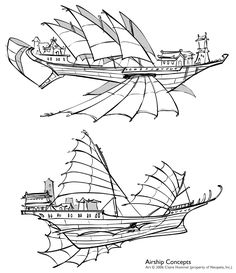 With the great expense of Skytimber configured for multi-vector propulsion most sky captains use sails/fins for navigation and skytimber engines for thrust (from http://shoomlah.deviantart.com/)