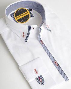 Stylish double collar for men White designer shirt Double Collar Shirt, Collar Shirts, Suit Fashion, Mens Fashion, Stylish Men, Men Casual, Chemise Slim Fit, Camisa Slim, Formal Shirts For Men